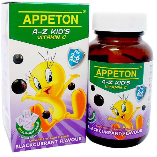 APPETON A-Z KID'S VITAMIN C 30MG BLACKCURRANT 100'S