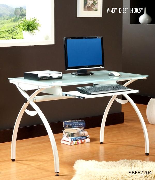 Apple computer table modern design with glass top and metal frame