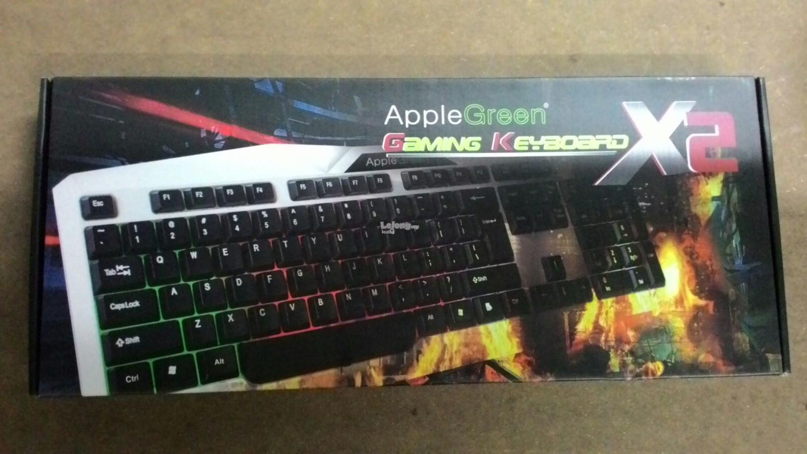 Apple Green Gaming x2 Keyboard Rainbow LED LIGHT For Pro Gamers