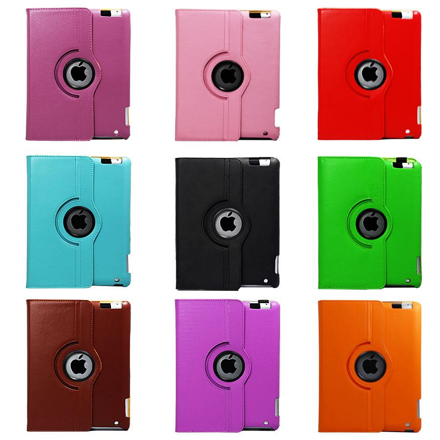 APPLE IPAD3 iPad 2 iPad2 Leather case - 360◦ Rotate Free Stylus