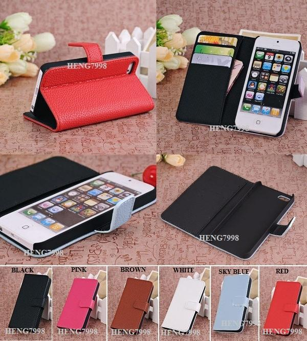 Apple iPhone 5 5G 5S Wallet Type Leather Stand Case & Screen Protector