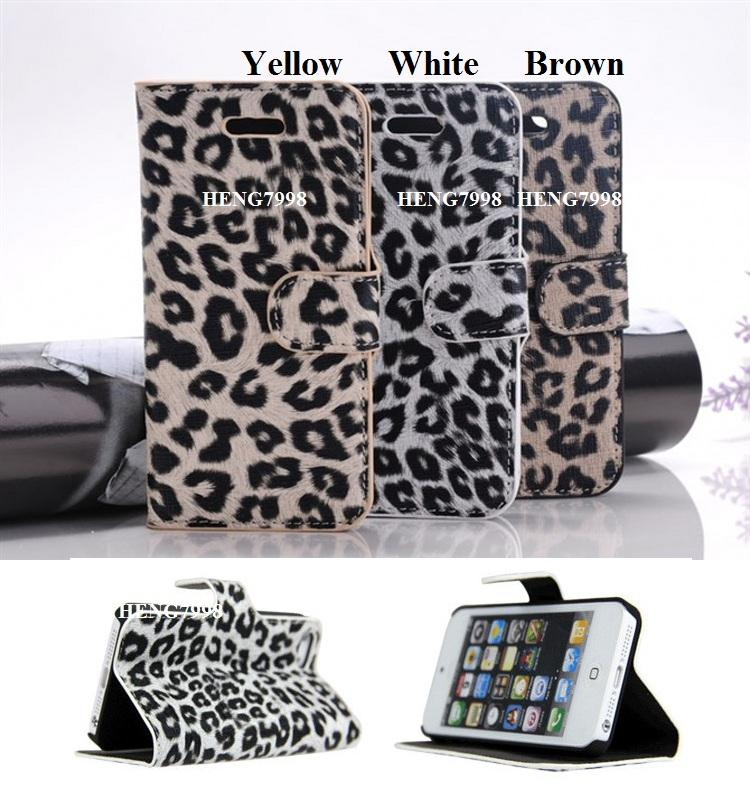 Apple iPhone 5 5G Leopard Leather Stand Case & Screen Protector