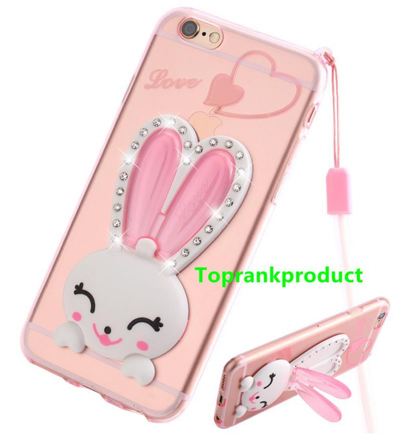 Apple iPhone 5 5S SE 6 6S Plus Diamond Rabbit Stand Case Cover Casing