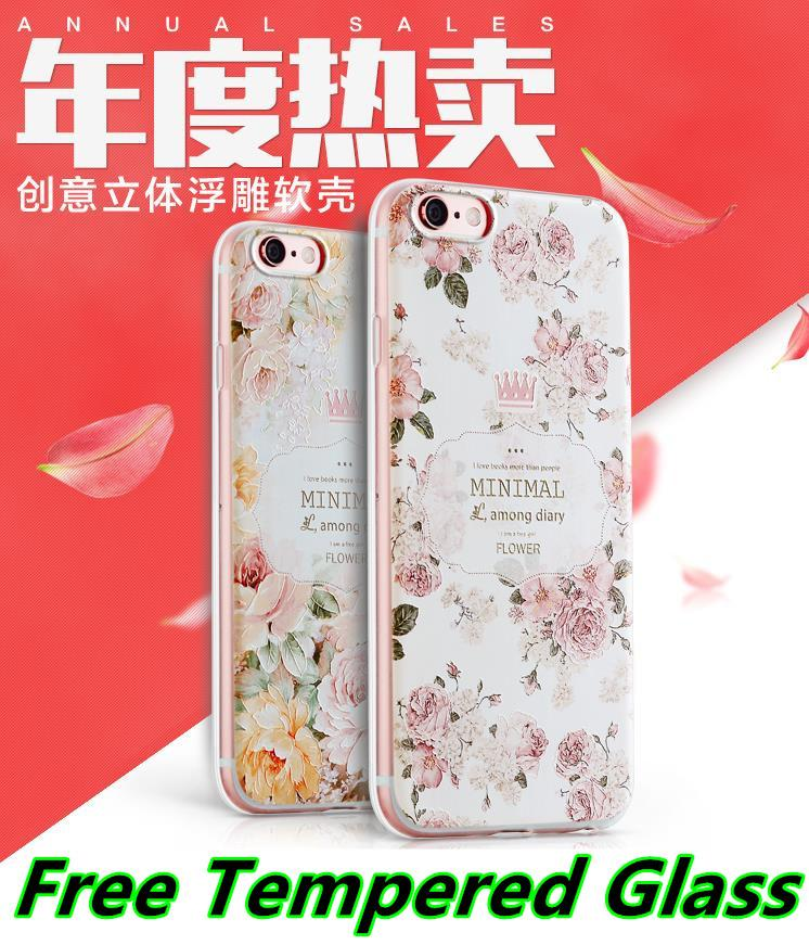 Apple iPhone 6 6S / Plus 3D Silicone Case Cover Casing +Tempered Glass