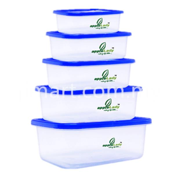 Apple Lady Ocean Blue Rectangle Food Container 4121-7 (5 Pcs Per Set)
