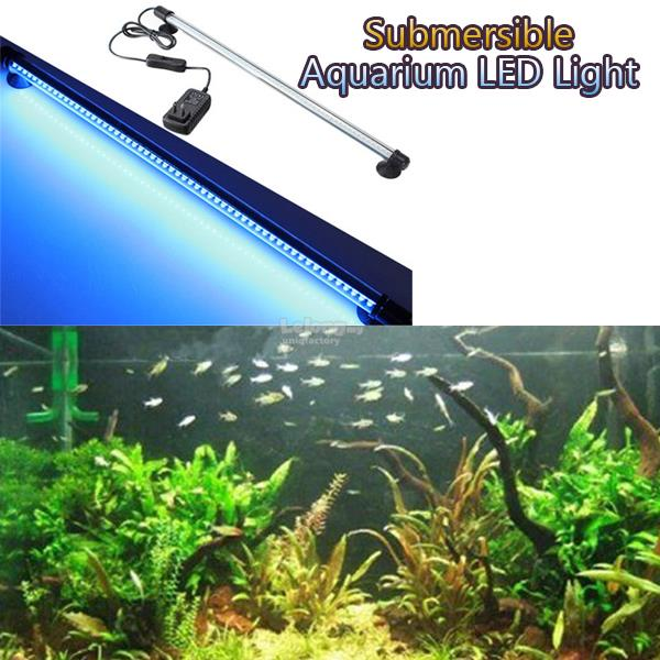 Aquarium Fish Tank Waterproof White Blue 57 LED Light Bar Submersible