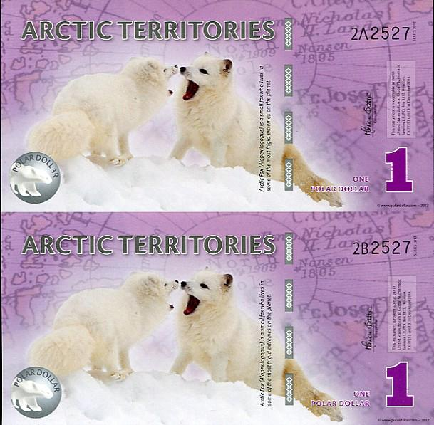 ARCTIC TERRITORIES SHEET UNC 1 DOLLAR 2010 MATCHING POLYMER UNCUT