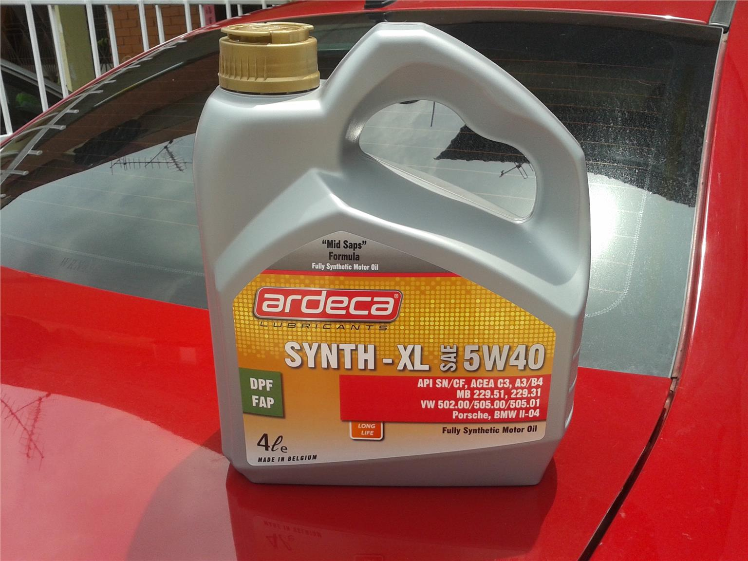 ARDECA HIGH PERFORMANCE FULLY SYNTHETIC SYNTH - XL 5W40 ENGINE OIL.