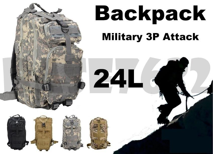 Army  Military 3P Attack Tactical Backpack Back Pack Bag 24L Camping