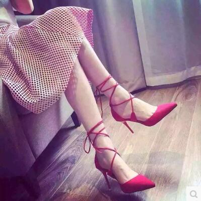 New arrival cross strap shoelace suede pointed high heels