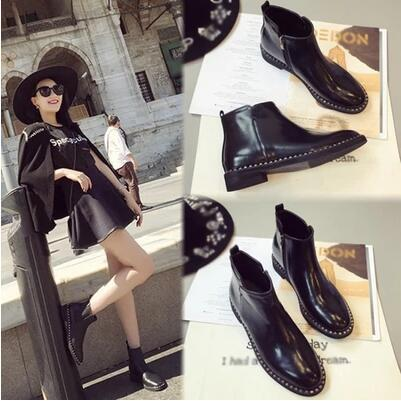 New arrival enamel leather low top flat martin boot