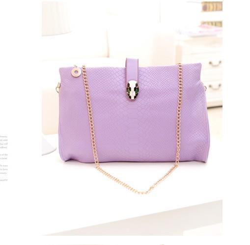 New Arrival Korea Snake Pure Color Chain Message Bag Purple