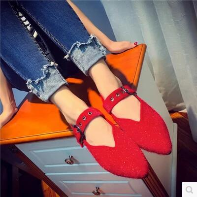New arrival pointed hollow Suede leather lazy sandal