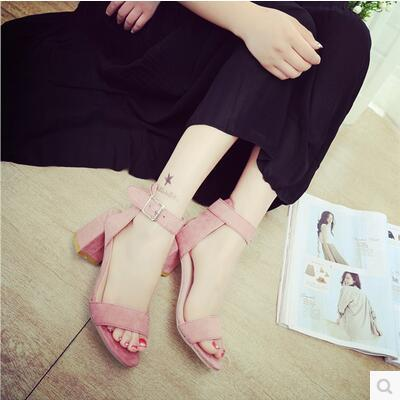 New arrival sexy thick heel Korea version Rome sandal