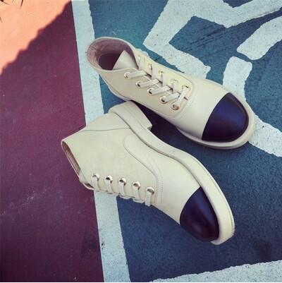New arrival Small fragrant wind canvas leather flat casual shoe