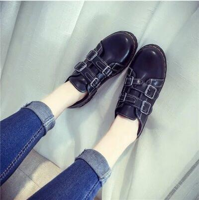 New arrival spring autumn British retro belt buckle flat casual shoe