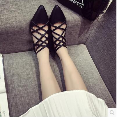 New arrival summer pointed sexy hollow flat casual Rome sandal