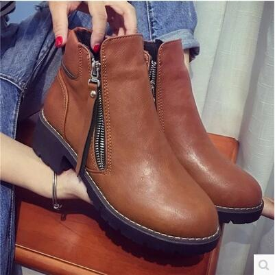 New arrival thick sole casual side zip flat high top martin boot