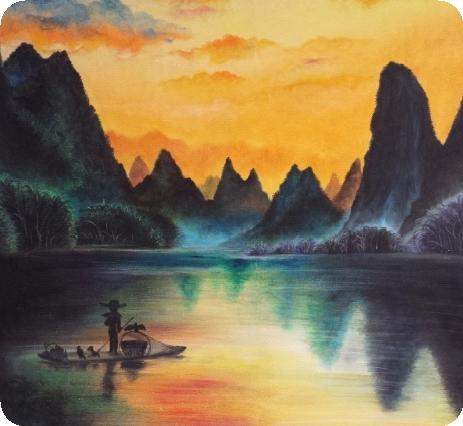 Art Crayon on Canvas Drawing - Karst by ALKJ