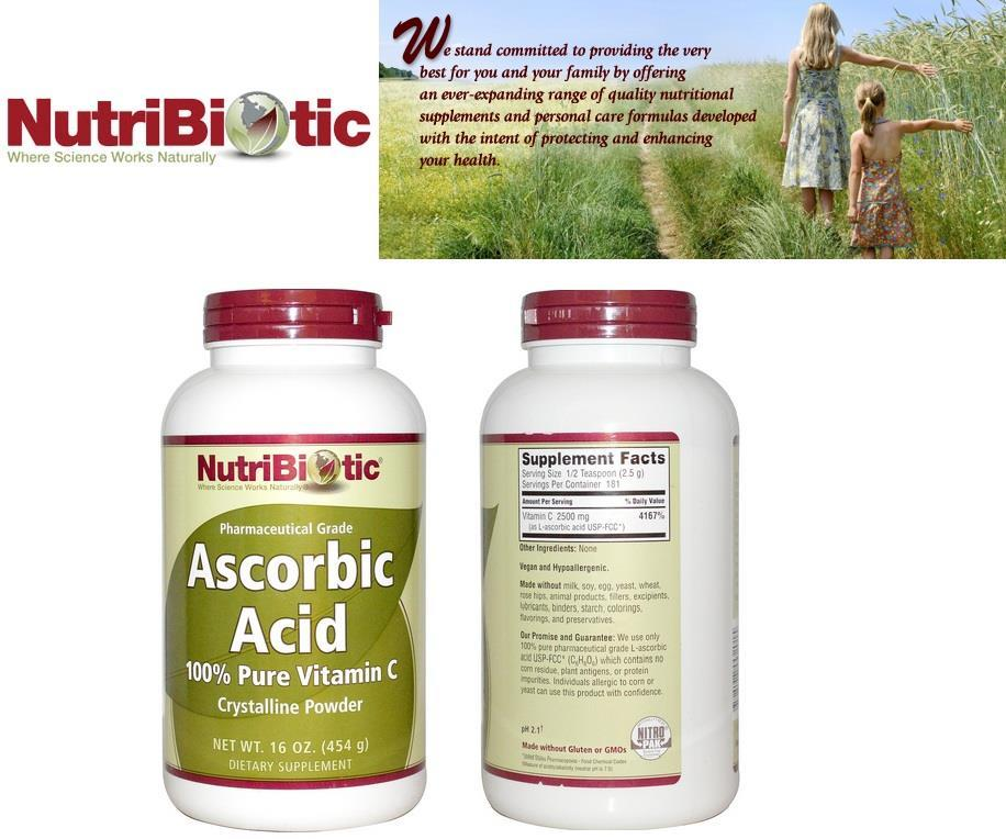 Ascorbic Acid, 100% Pure Vitamin C Crystalline Powder 454g (USA)