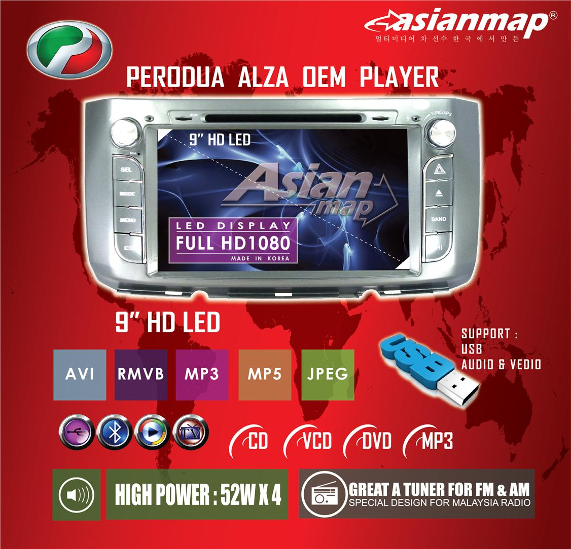 ASIAN MAP Perodua Alza 9' FULL HD OEM  WIN 8 DVD WITH GPS PLAYER