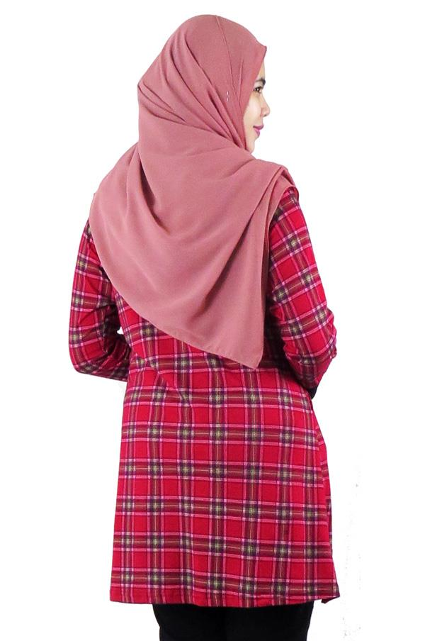 Assymetrical Panel Top / Blouse - Red (aq889e)