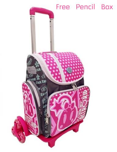 Astrokid Lighweight Detachable 6 Wheels Trolley School Bag R-801676-G