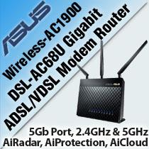 ASUS DSL-AC68U DUAL-BAND WIRELESS-AC1900 GIGABIT MODEM ROUTER