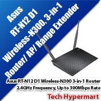 ASUS RT-N12 D1 WIRELESS-N300 3-IN-1 ROUTER