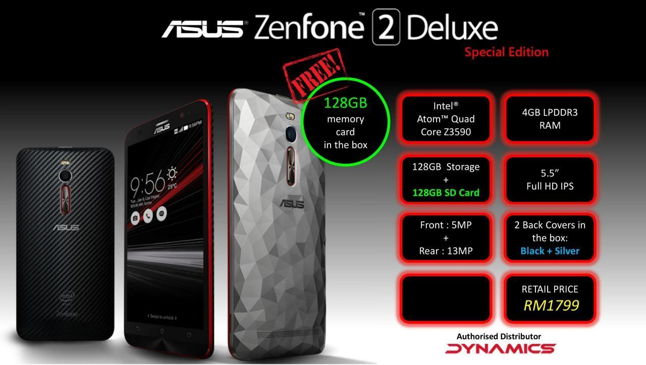 Asus Zenfone 2 Deluxe Special Edition 4GB/128GB Ori Asus Msia Set