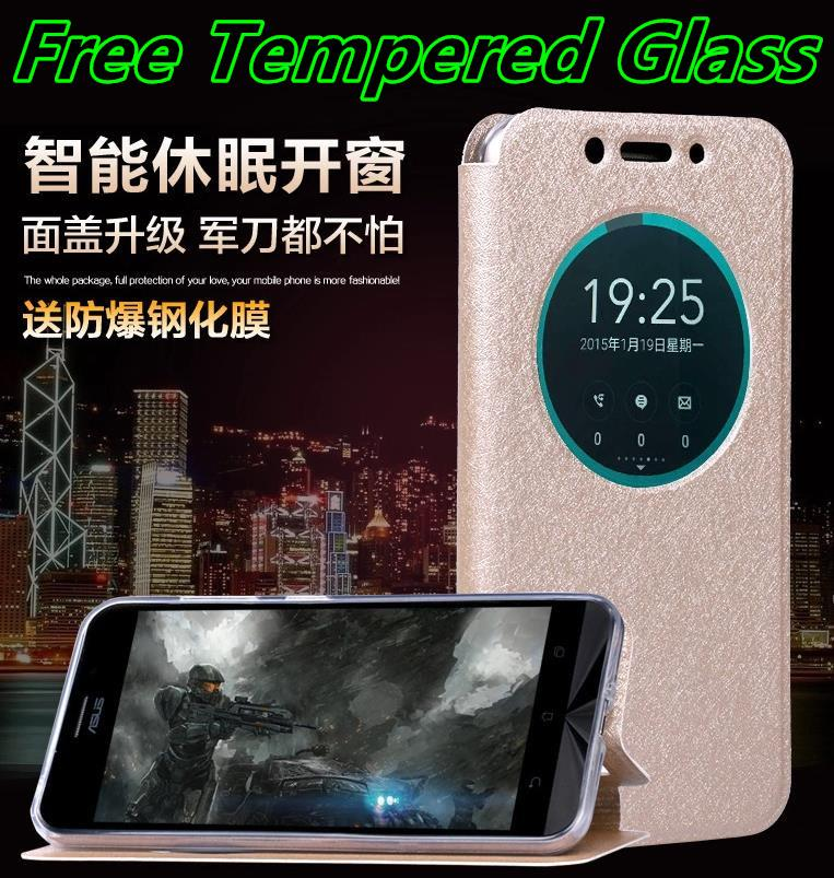 Asus Zenfone Max ZC550KL Flip Case Cover Casing + Free Tempered Glass