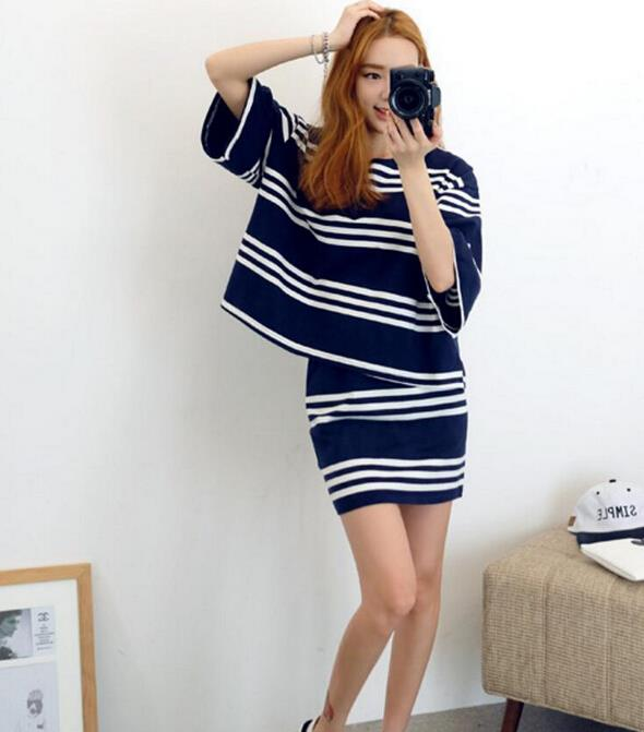 AT7078 Fashion Stripe Top and Skirt As Picture