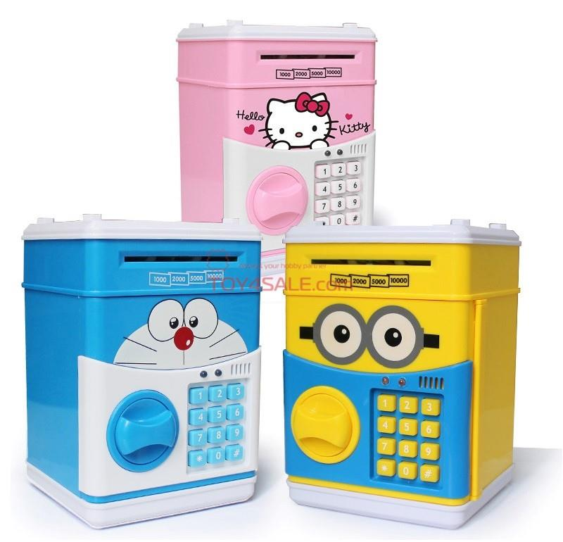 ATM Money Safe Box Toy + Sound Password Minion Doraemon Hello Kitty