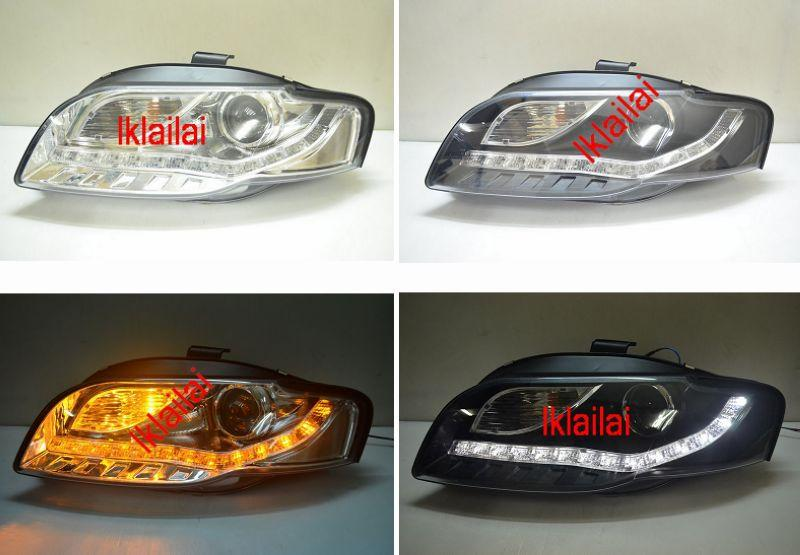 Audi A4 B7 '05 Projector Head Lamp with LED Signal Chrome/Black