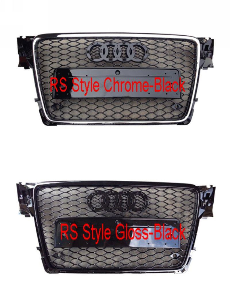 Audi  A4 B8 '08 Front Grille RS Style Chrome-Black / Gloss-Black