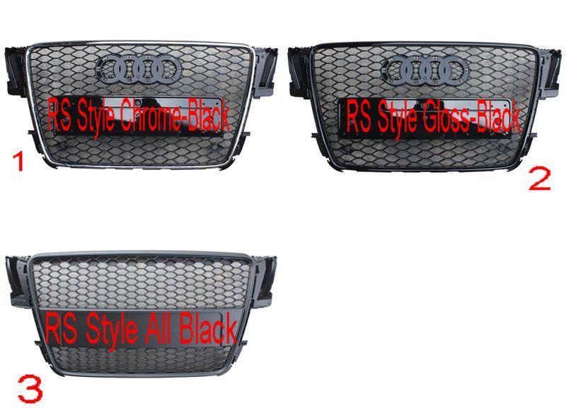 Audi A5 '08 Front Grille RS Style Gloss-Black/Chrome/Black/All Black