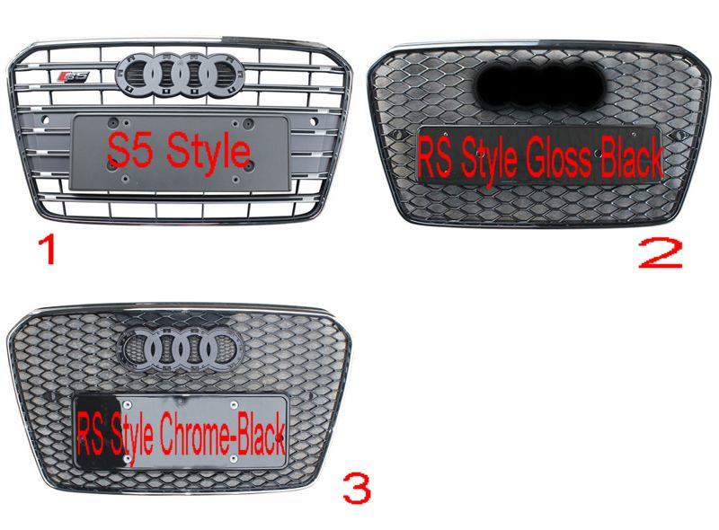 Audi A5 '13 Front Grille S5 Style/RS Style Gloss Black/RS Style Chrome