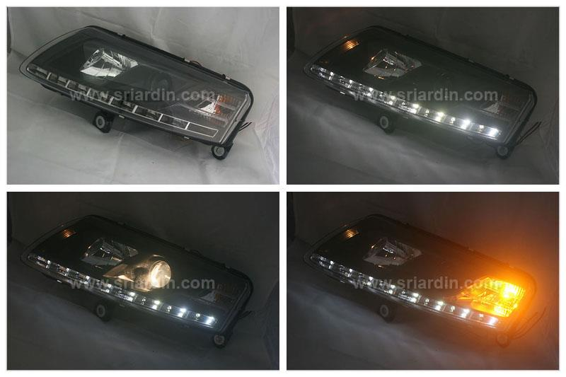 AUDI A6 04-08 BLACK PROJECTOR HEADLAMP W LED