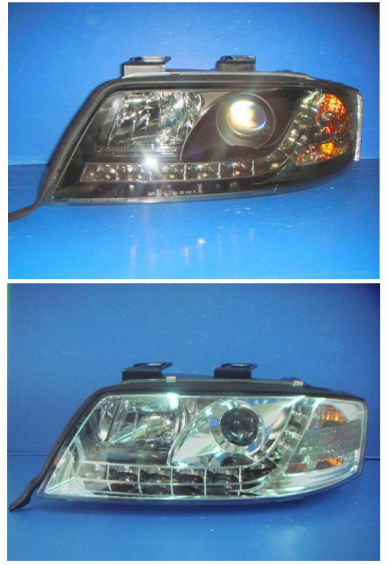 Audi A6 '97-03 Projector Head Lamp R8 DRL [Chrome/Black Housing]