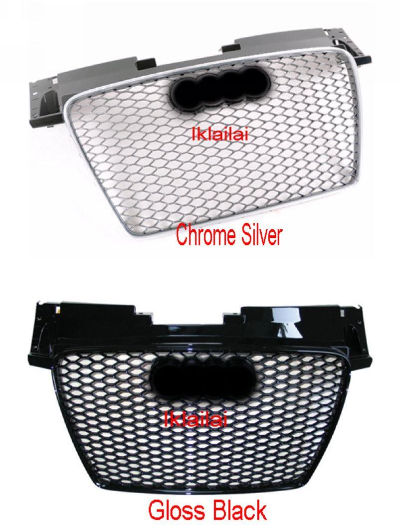 Audi TT MK2 '06-'13 Front Grille RS Style [Chrome-Silver /Gloss Black]