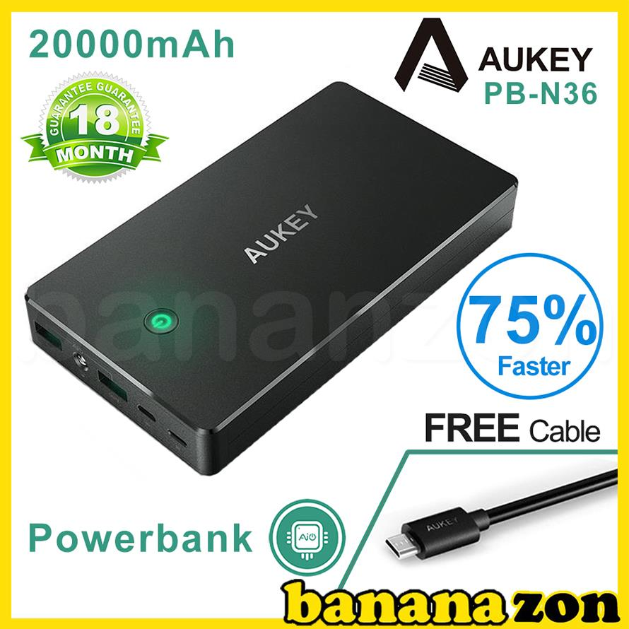 Aukey 20000mAh 3.4A Dual Turbo Charge Powerbank N36 Support Lightning