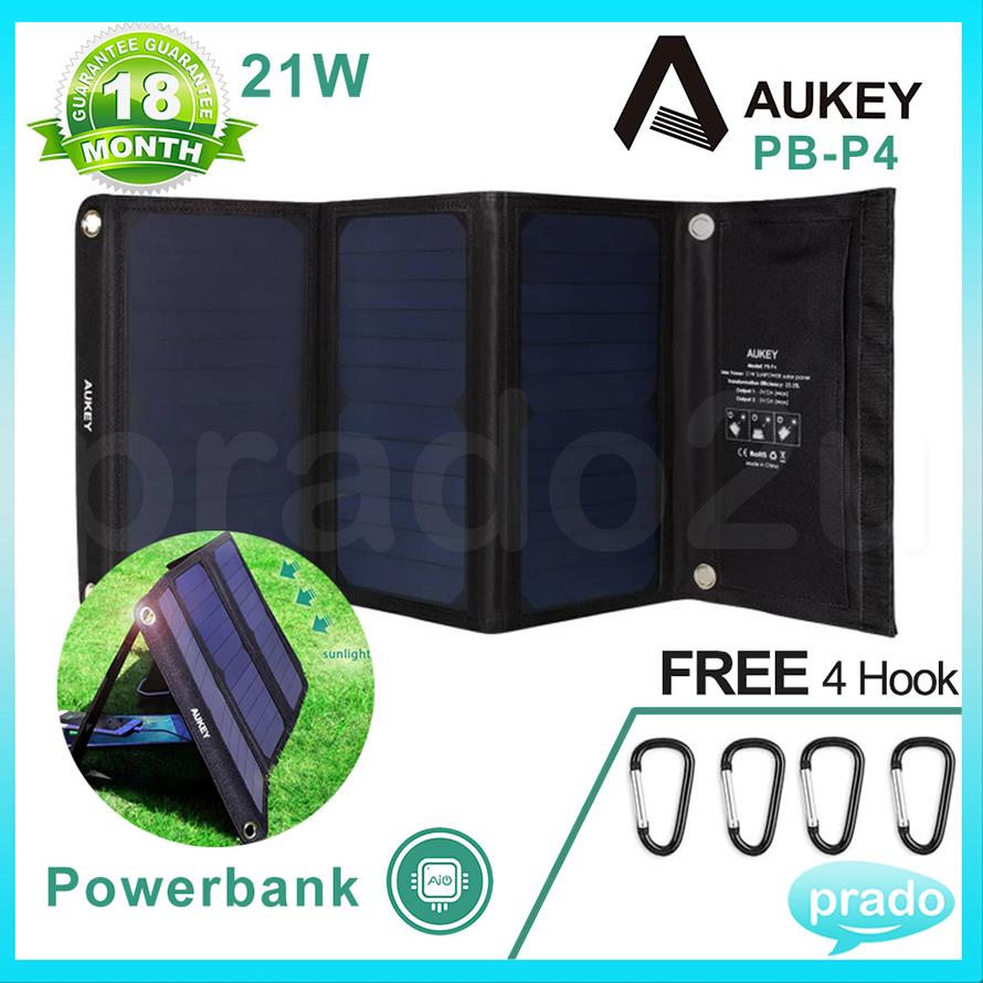 AUKEY 21W Outdoor Solar Panel Charger Dual USB 2A iPhone Android P3