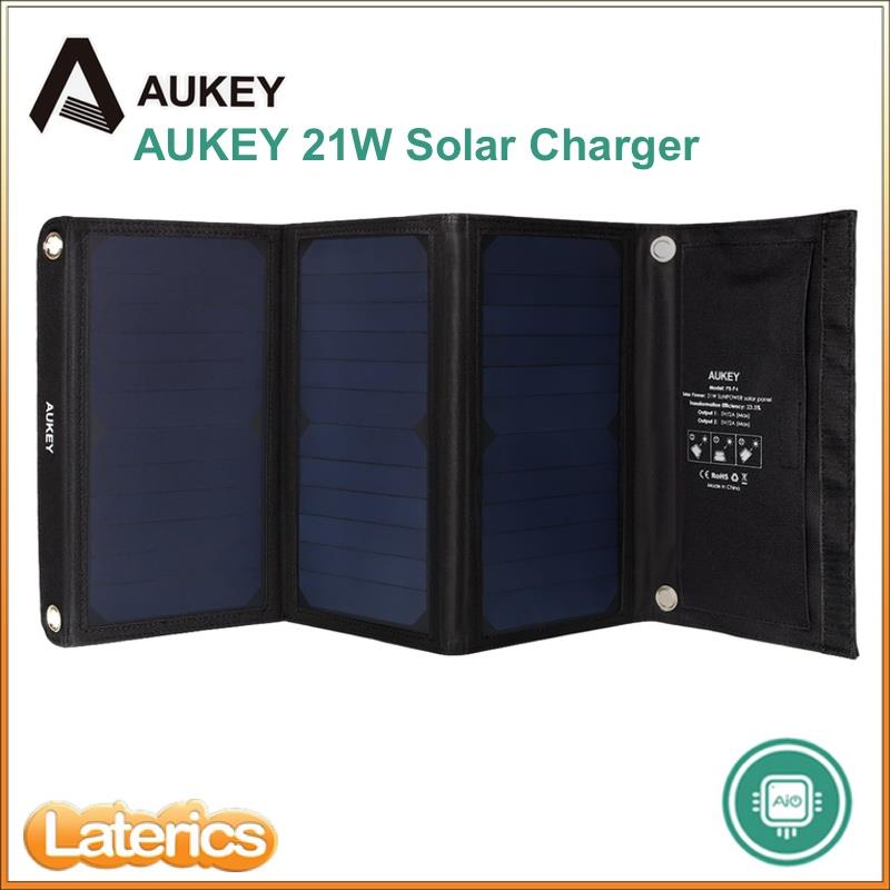 AUKEY 21W OUTDOOR SOLAR PANEL CHARGER DUAL USB PORT FOR APPLE IPHONE S