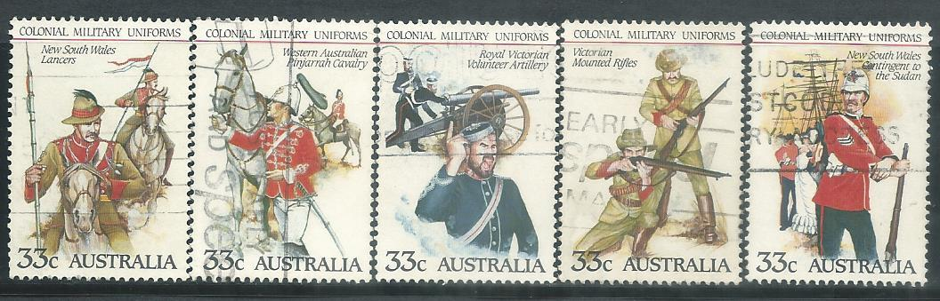 AUS-19850225U AUSTRALIA 1985 COLONIAL MILITARY UNIFORMS 5V USED