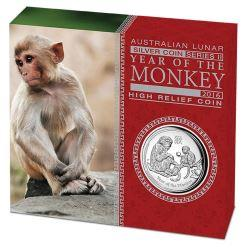AUSTRALIAN LUNAR SII 2016 MONKEY 1OZ SILVER PROOF HIGH RELIEF COIN
