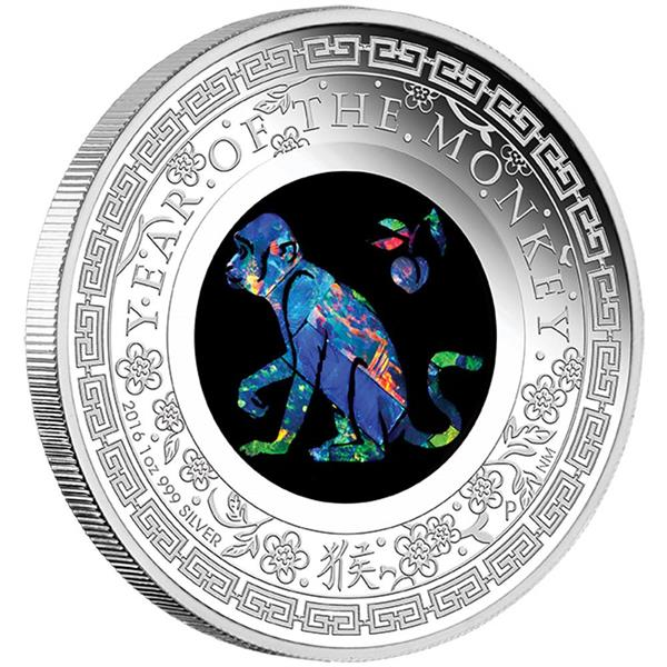 AUSTRALIAN OPAL - LUNAR MONKEY 2016 1OZ SILVER PROOF COIN