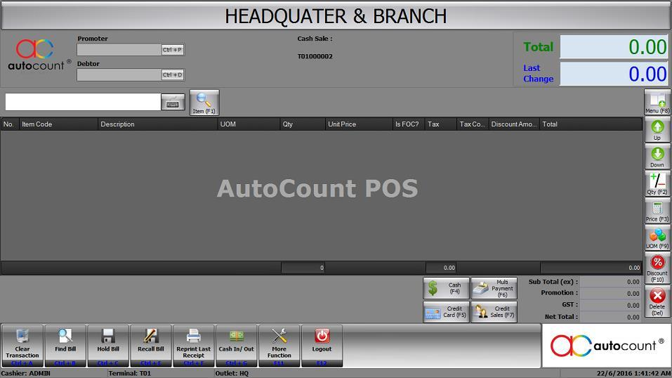 AutoCount POS Standard - POS + Stock Control + Account (GST READY)