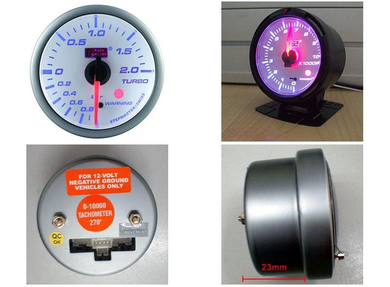 AUTOGAUGE 60mm Blue Racer White Face Boost Meter [513]