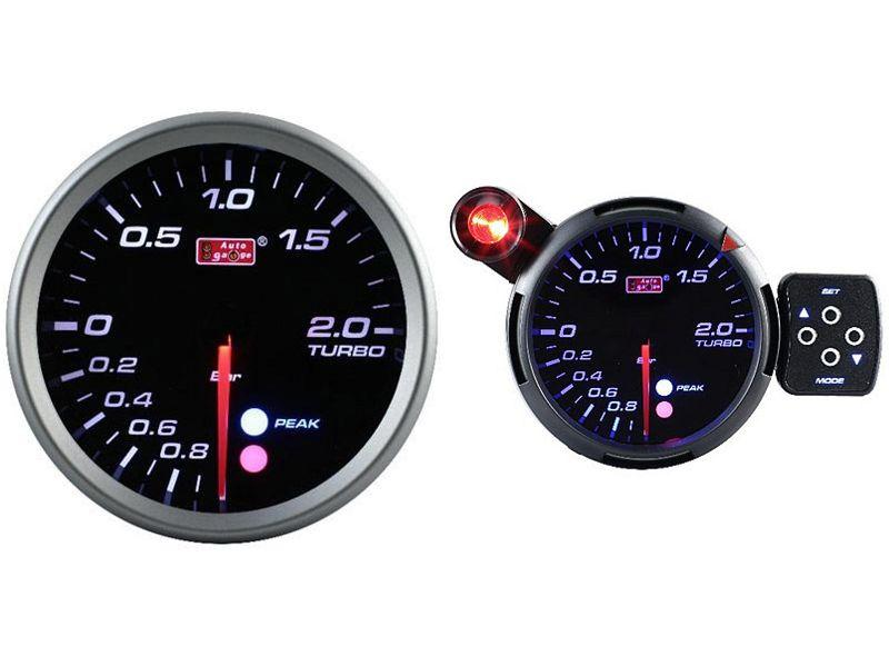 AUTOGAUGE 80mm Amber, White and Blue Black Face Boost Meter [561]