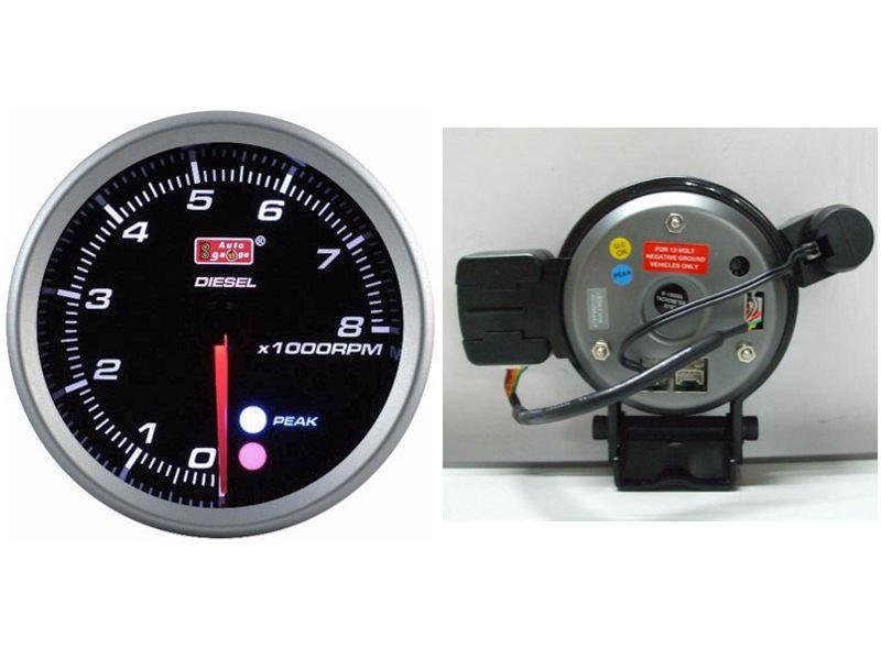 AUTOGAUGE 80mm Amber, White & Blue Black Face RPM Diesel Meter [560]